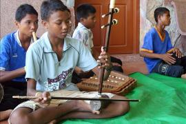 Boys playing traditional instruments, SOS Children's Village Battambang - photo: Axel Halbhuber