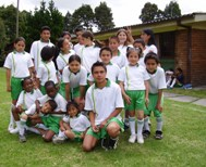 Giovanni, a youth from SOS Children's Village Bogotá, leading his football team (Photo: SOS Archives)