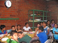 Students of the temporary school in Santa Ana at class - Photo: SOS Archives