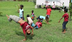 Children playing with their friends in SOS Children's Village Bambous (photo: SOS archives).