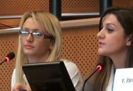 Eristjana Karcana & Marina Muca Peer Researchers Albania address at EU Parliament