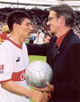 Krassimir Balakov and HGFD managing director G. Willeit after 'Bala's' last match  - Photo: W. Kehl