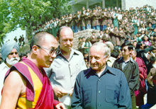 The Dalai Lama with Gmeiner and the current President of SOS Children's Villages, Helmut Kutin - Photo: A. Gabriel