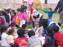 Staff from SOS Children's Villages hold lessons for the children and organise games - Photo: SOS Archives