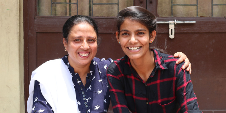 Poonam and her SOS Mother Madhavi
