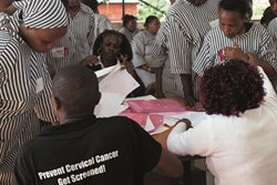 Women in a Kenyan prison are among the 100,000 who are seen and treated quickly if necessary for cervical cancer