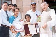 Vinod at the felicitation ceremony at Faridabad - Photo: SOS Archives
