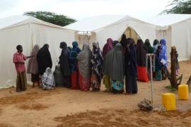 Refugees in front of the SOS health post in the camp Badbado