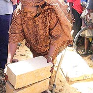 The first bricks for the new SOS Children's Village - Photo: C.N. Biyack