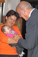 President Kutin with the youngest child of SOS Children's Village Sarajevo - Photo: Katerina Ilievska