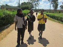 Three girls in our care coming home from school (photo: SOS archives).