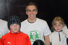 German soccer star Lahm during his visit to the SOS Children's Village Imst (Austria) this year - Photo: W. Kehl