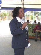 The school principal, Mrs Hannah Davies, gives opening remarks (Photo: T. Kudadjie)
