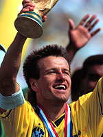 Carlos Dunga, captain of Brazil's 1994 World Cup winning team, plays in Leipzig on 6 September. - Photo: M. Gilliar