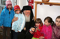 The children followed Patriarch Bartholomew at every turn - Photo: SOS Archives