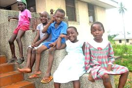 Sitting outside, SOS Children's Village Bata - photo: C. F. Ngo Biyack